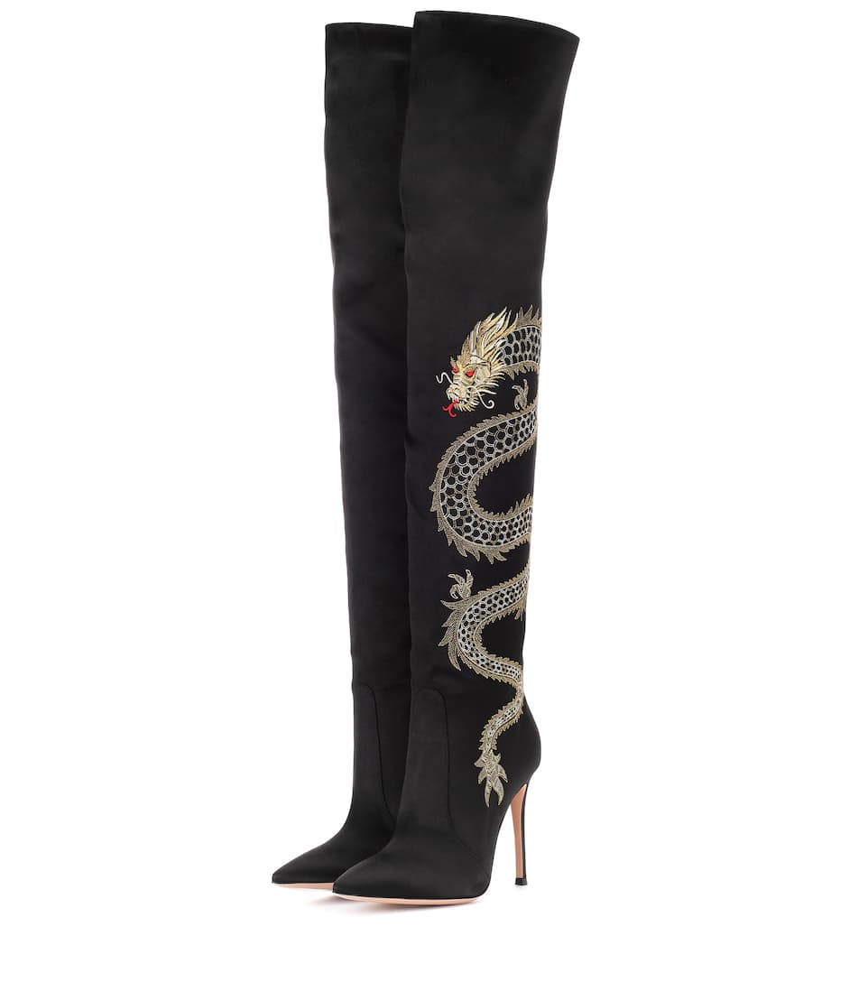 Gianvito Rossi Dragon embroidered satin over-the-knee boots SVwp1K7Lfg