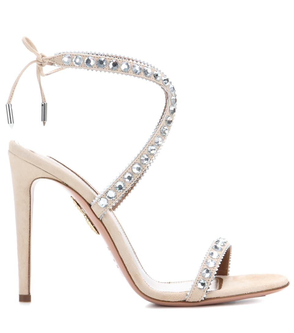 AQUAZZURA Sweet Lover Crystal Suede High Heel Sandals