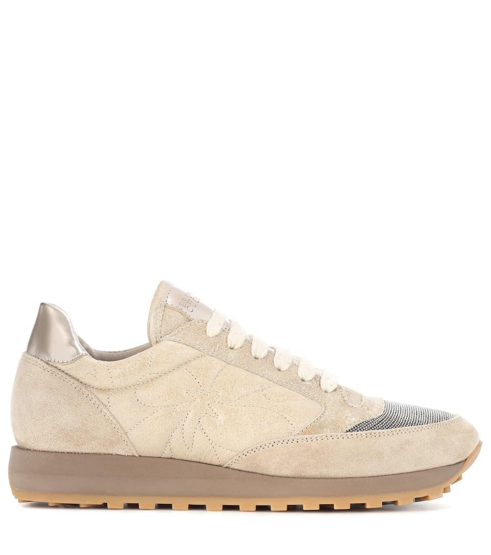 Outlet Bequem Brunello Cucinelli Sneakers aus Veloursleder Rabatt Verkauf Online IDtH92Fy
