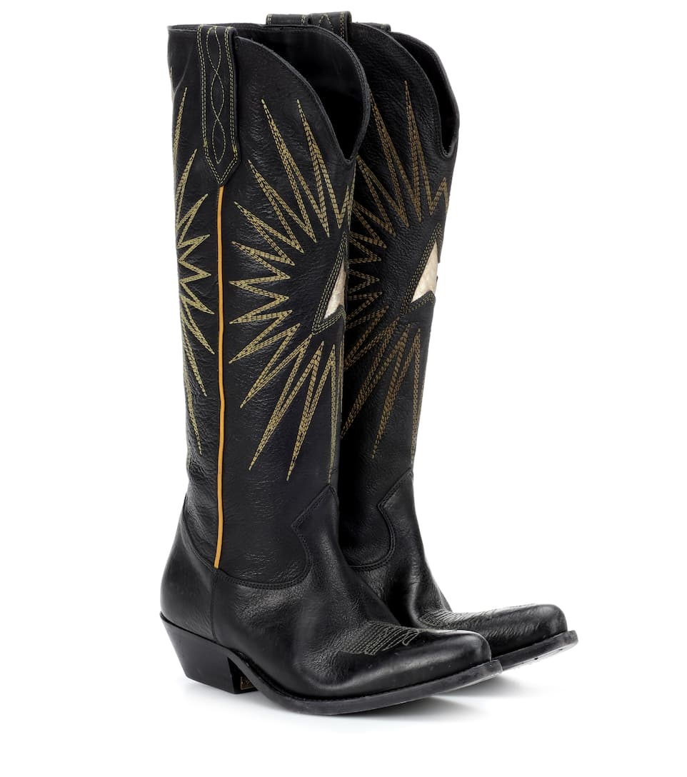 Wish Star leather cowboy boots Golden Goose Discount Largest Supplier Discount Manchester Great Sale Xtl0B89