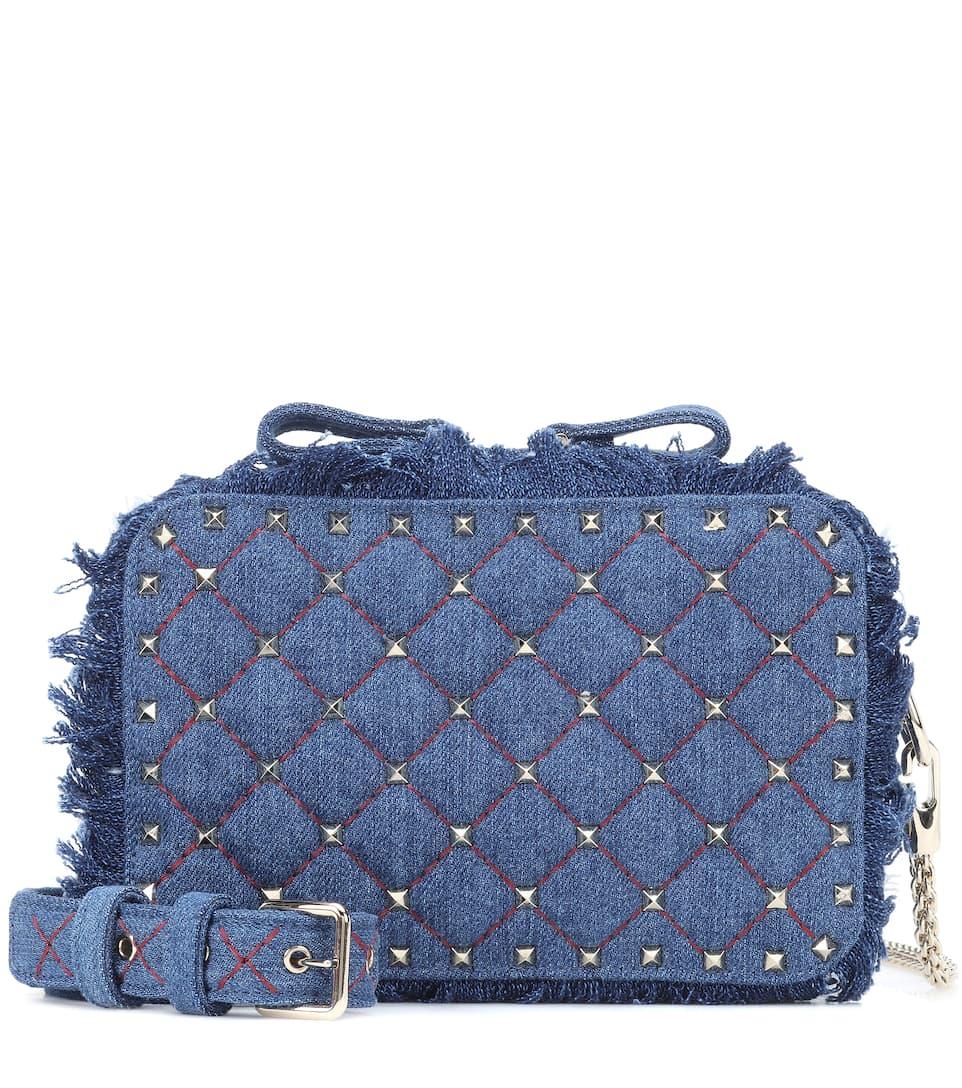 Valentino Garavani Rockstud Spike Denim Shoulder Bag by Valentino