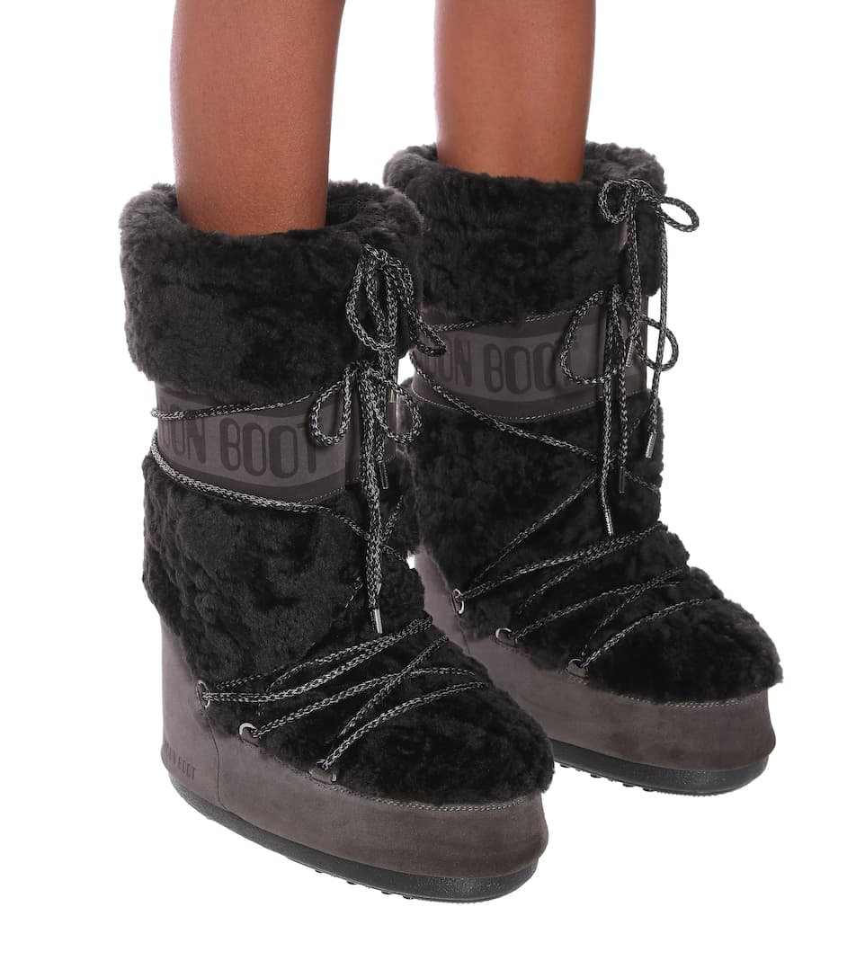Moon Boot Stivali doposci in suede e shearling