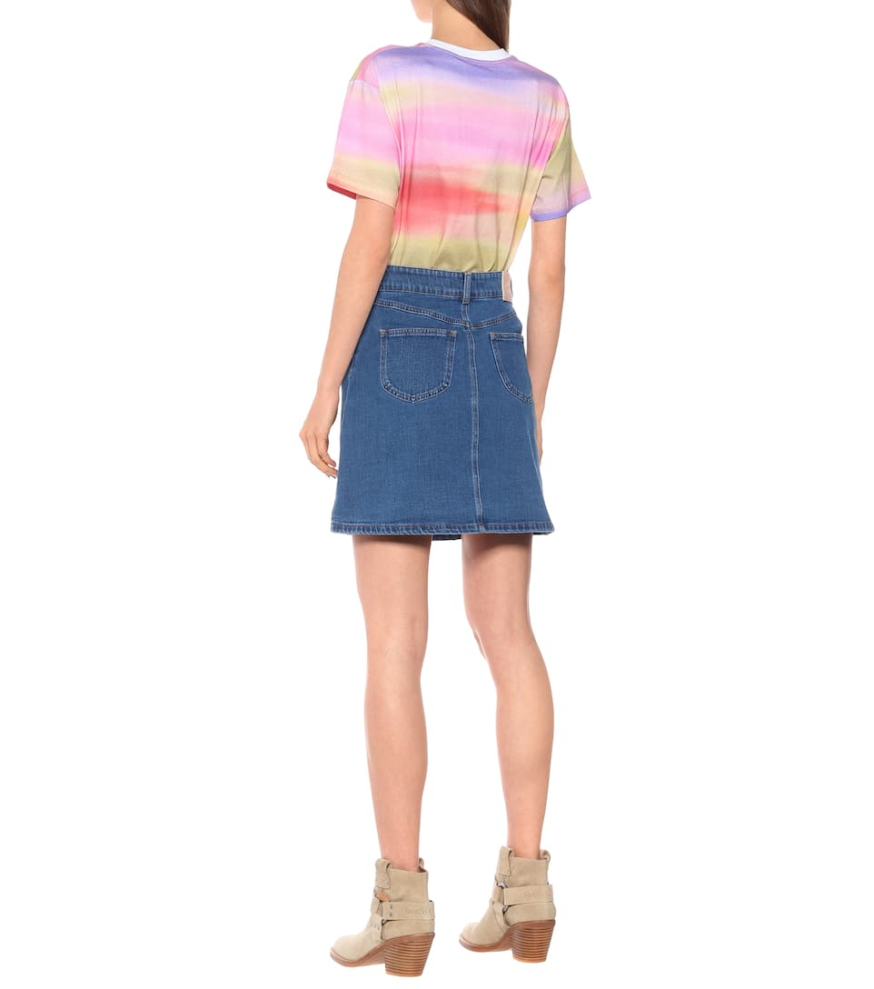 See By Chloé - High-rise stretch-denim miniskirt