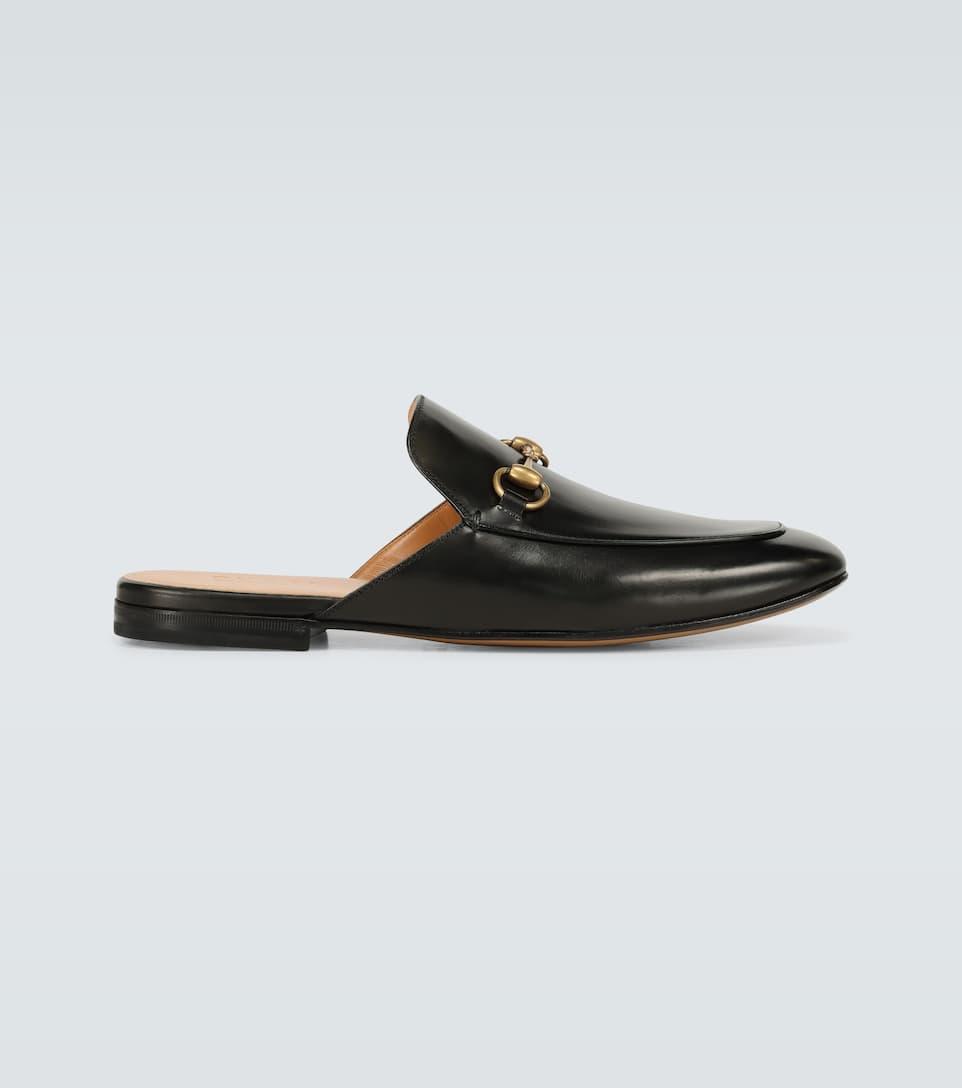 Leather Horsebit Slippers - Gucci