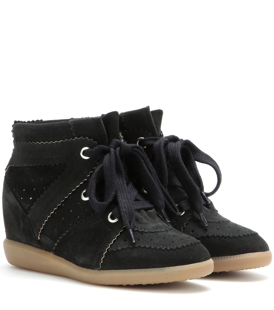 toile bobby suede wedge sneakers isabel marant mytheresa. Black Bedroom Furniture Sets. Home Design Ideas