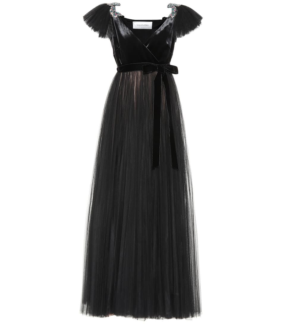 Embellished Velvet And Tulle Gown - Valentino | mytheresa