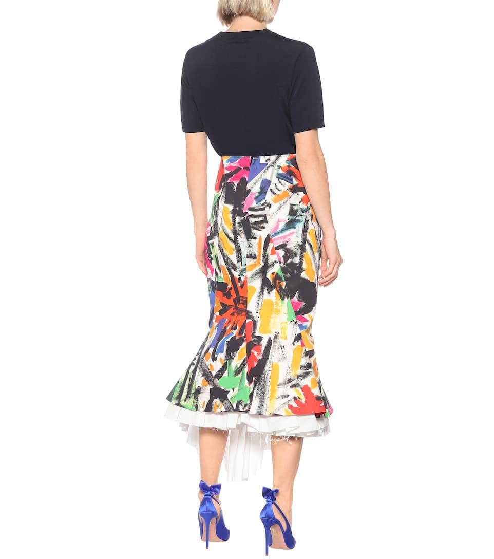 Printed Cotton Asymmetric Midi Skirt - Marni