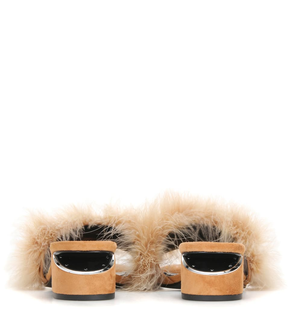 ALEXANDER WANG Lou Suede & Feather Slide Sandals