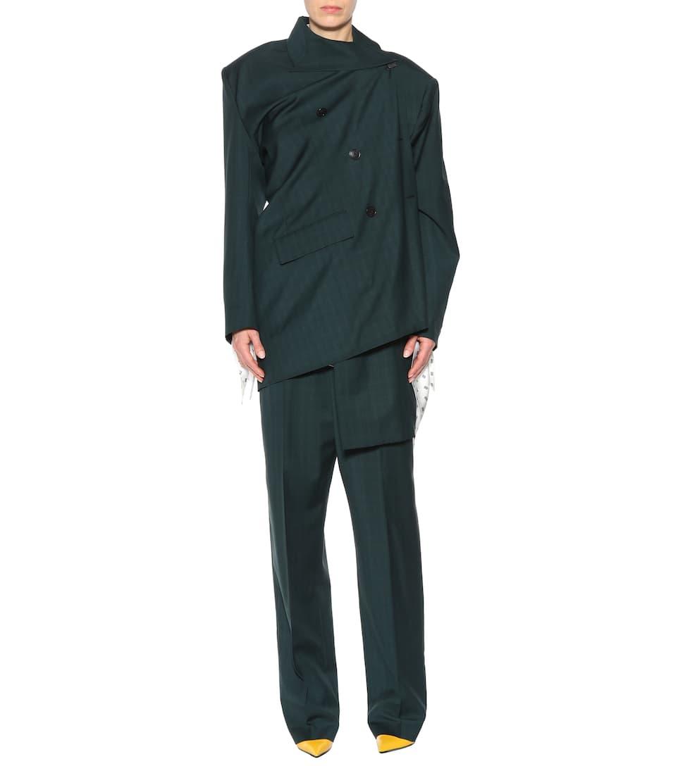 Balenciaga Asymmetrischer Mantel aus Wolle und Mohair