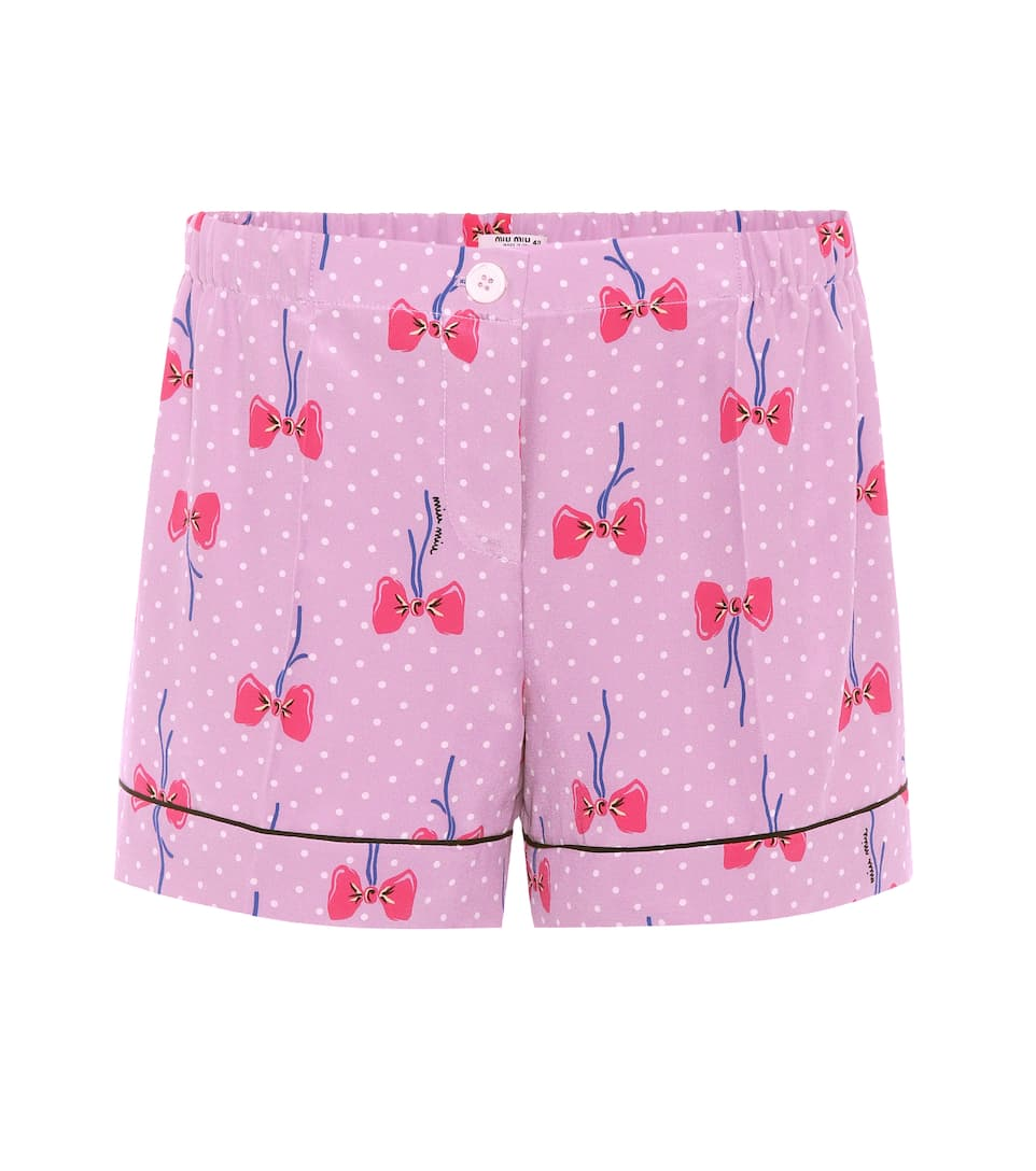 Miu Miu Printed Shorts Made Of Silk