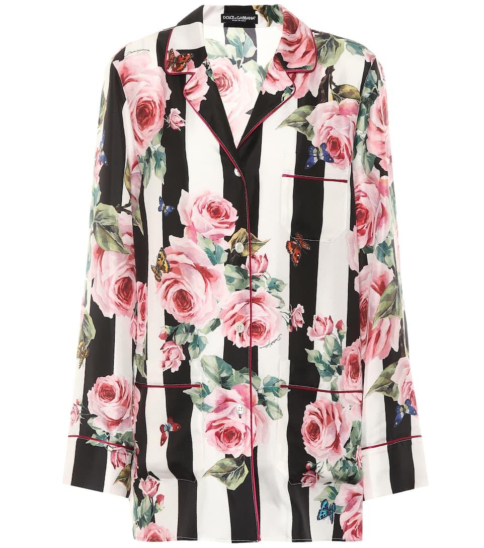 Dolce & Gabbana Gestreifte Pyjamabluse aus Seide