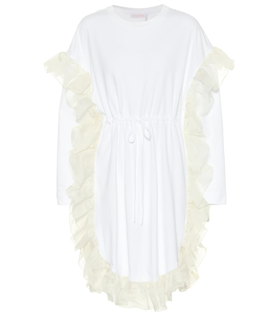 SEE BY CHLOÉ See By Chloe White Ruffle Jersey Dress