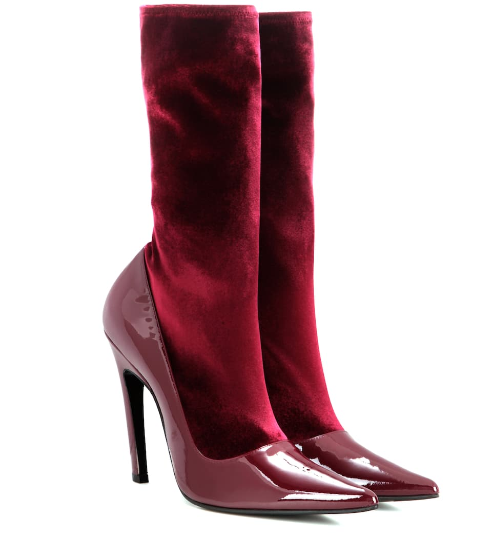 balenciaga velvet and patent leather boots mytheresa