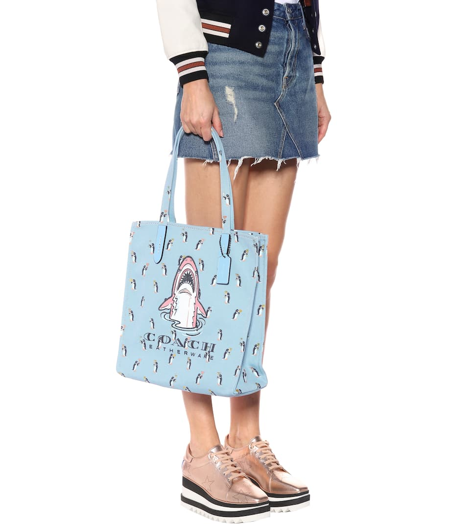 Coach Tote Sharky aus Canvas mit Leder