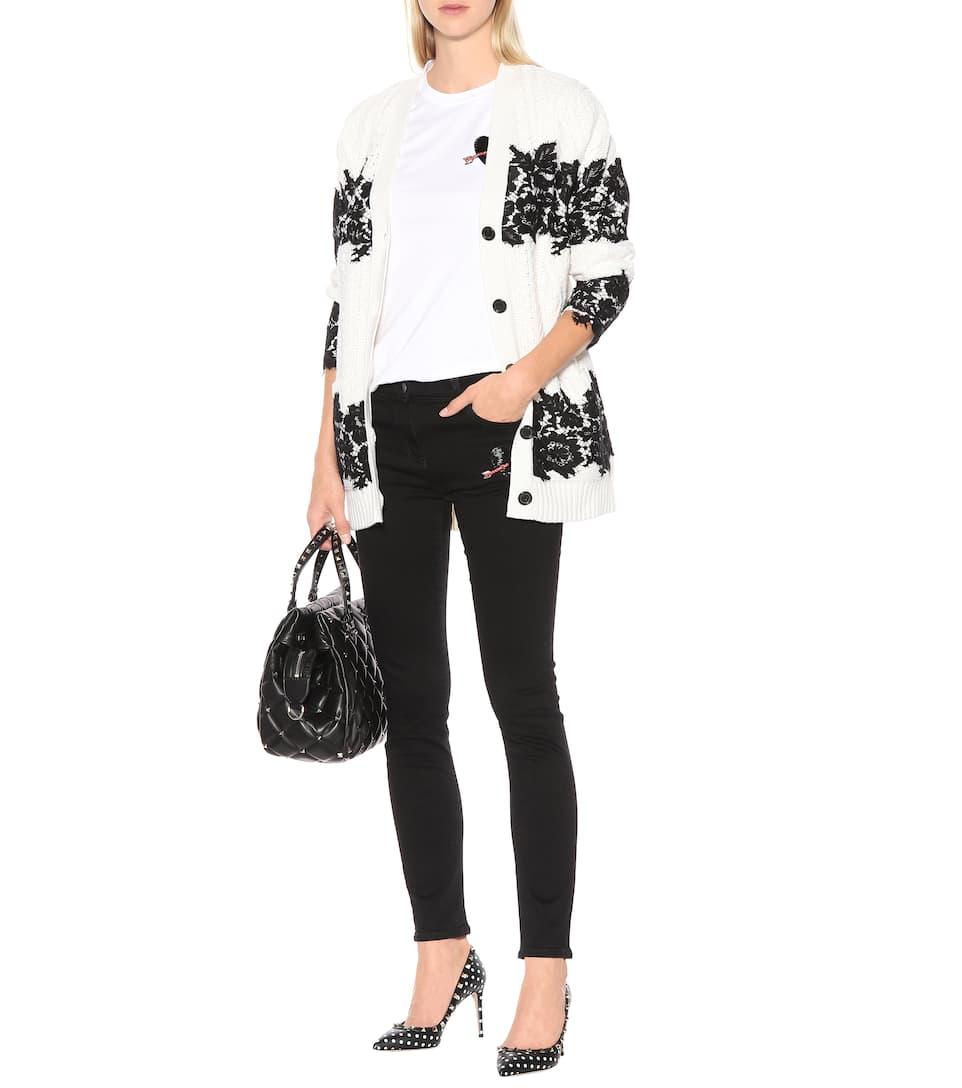 bordados Negro Denim ajustados Jeans Valentino TZw6vqvU