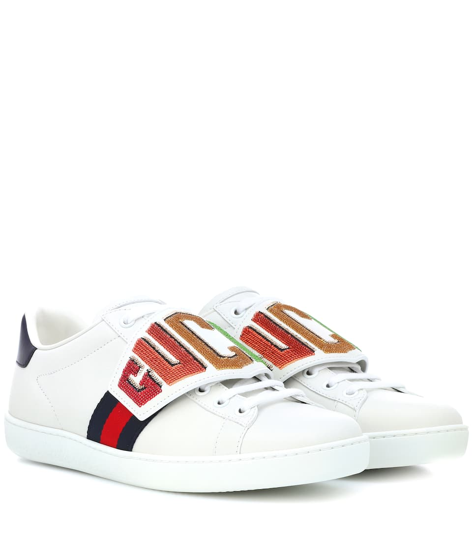 b9b308527 Ace Embellished Leather Sneakers | Gucci - mytheresa.com