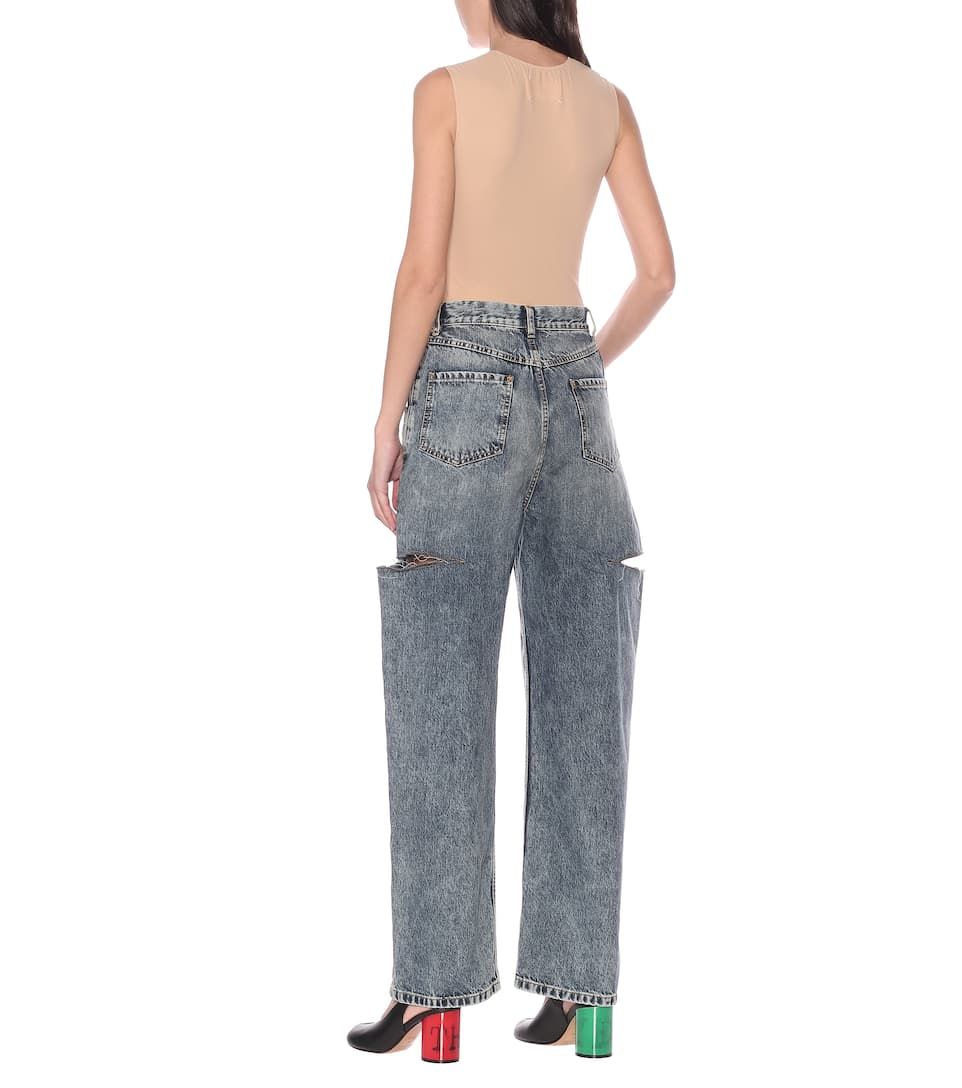 Cutout High-Rise Wide-Leg Jeans - Maison Margiela