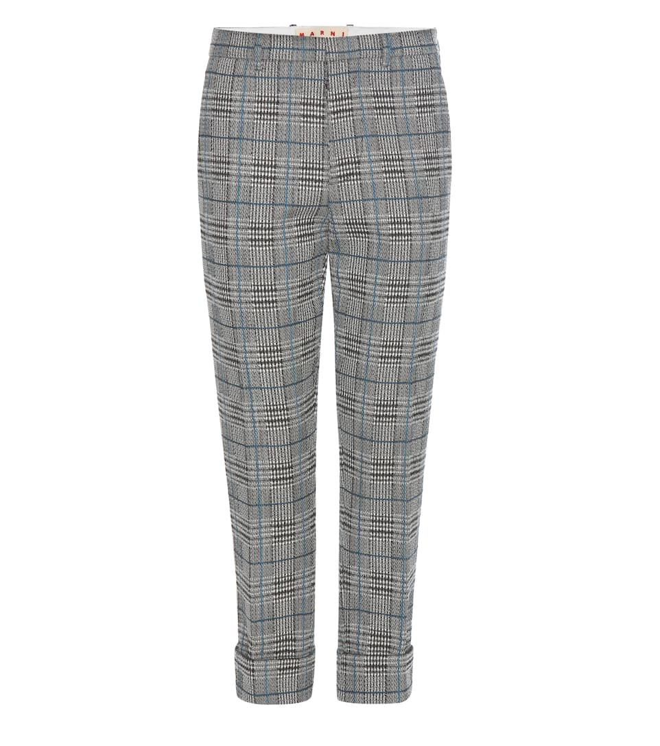 Marni Plaid knitted wool-blend trousers
