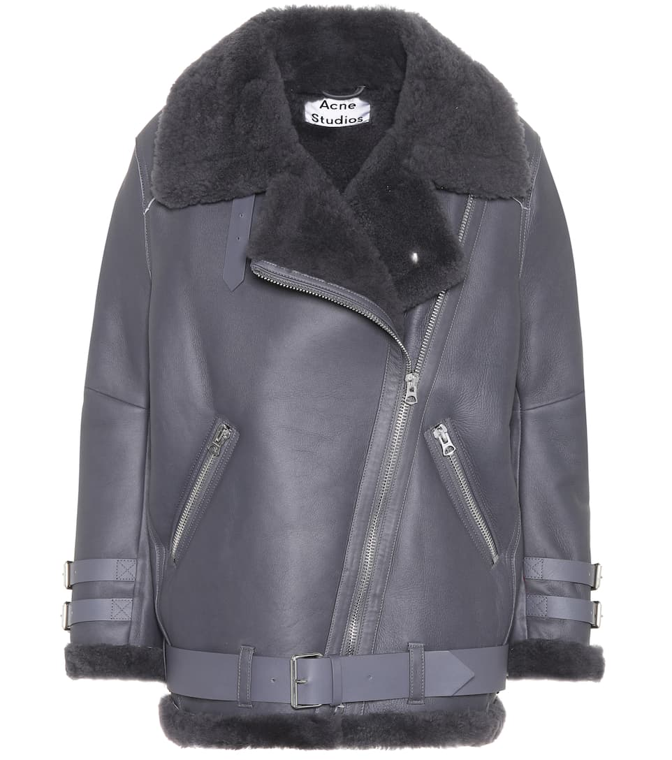 fd3c2a4d683c4 Acne Studios Velocite Shearling-Lined Leather Jacket In Grey