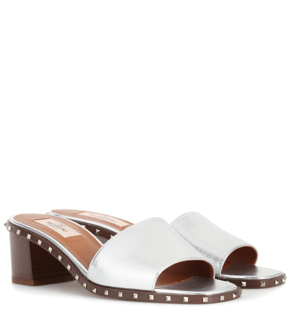 Valentino Garavani Soul Rockstud Leather Sandals by Valentino Garavani