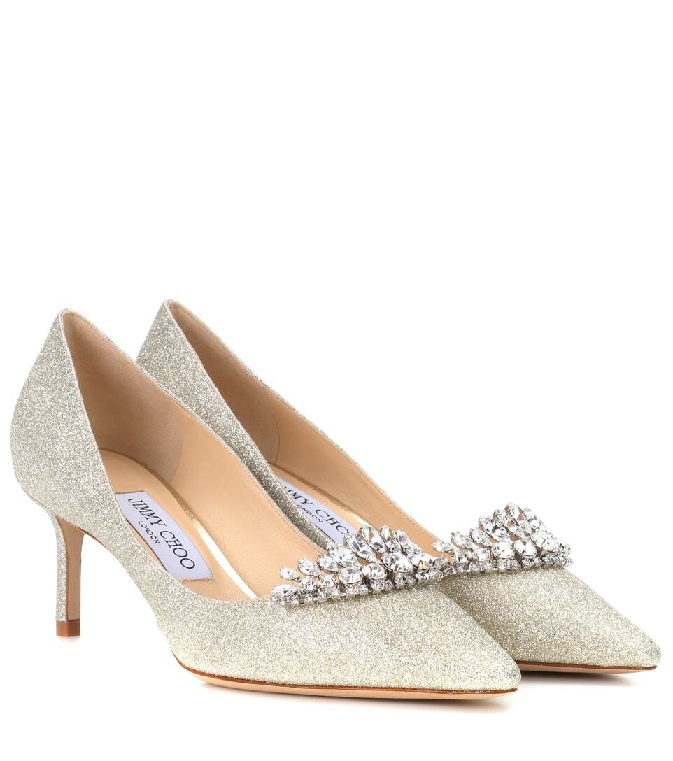 Jimmy Choo - Escarpins à paillettes et ornements Romy 60