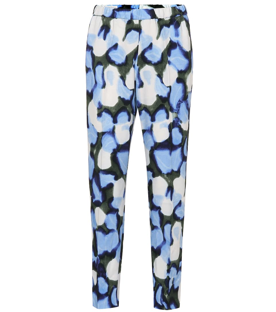 Printed High Rise Straight Pants by Dries Van Noten