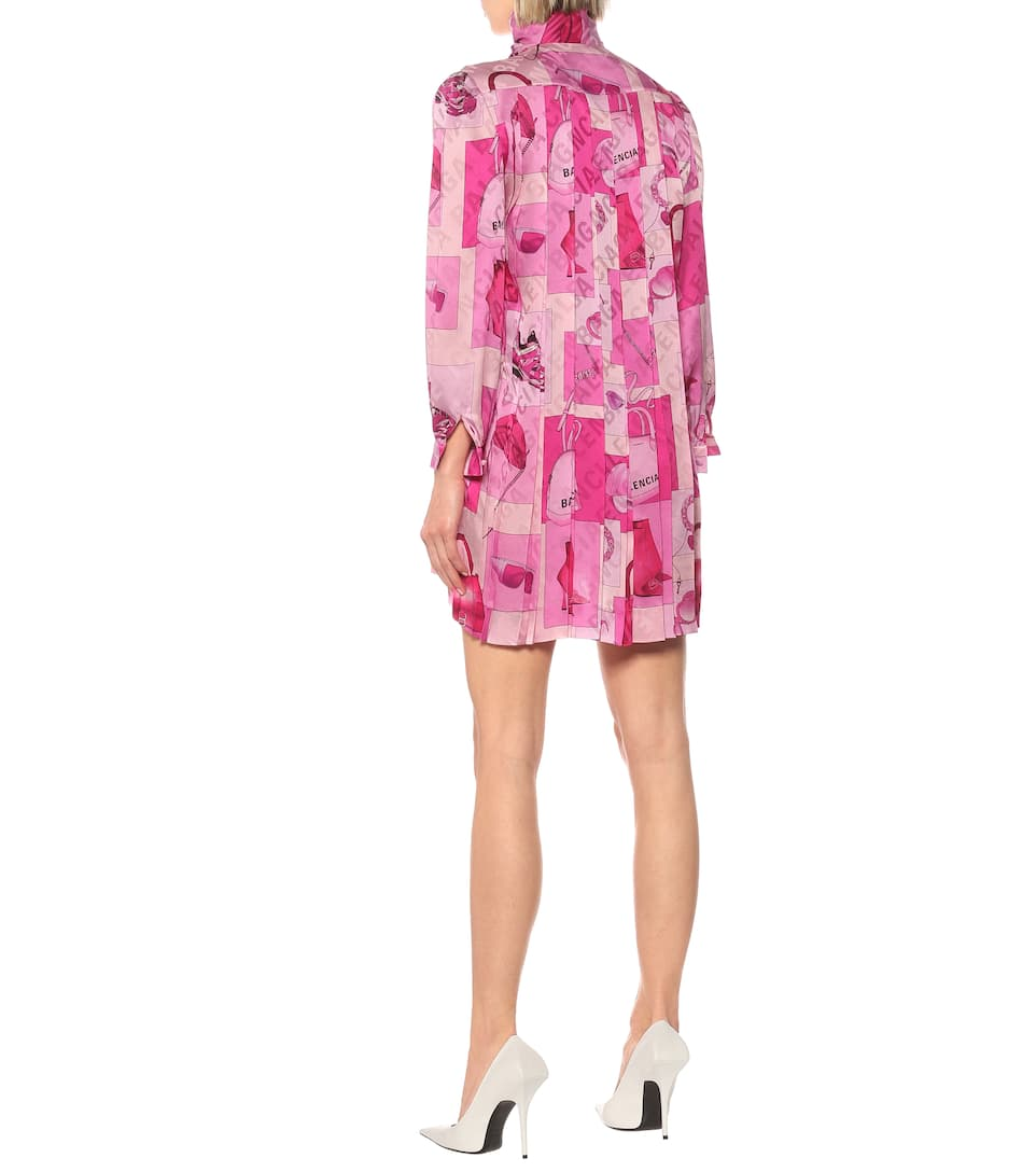Printed Silk Tie-Neck Minidress | Balenciaga - Mytheresa