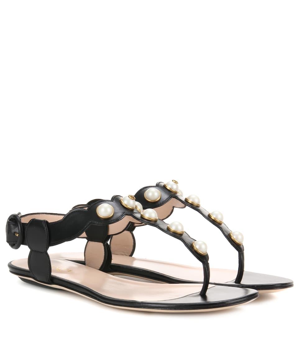 gucci willow embellished leather sandals. Black Bedroom Furniture Sets. Home Design Ideas