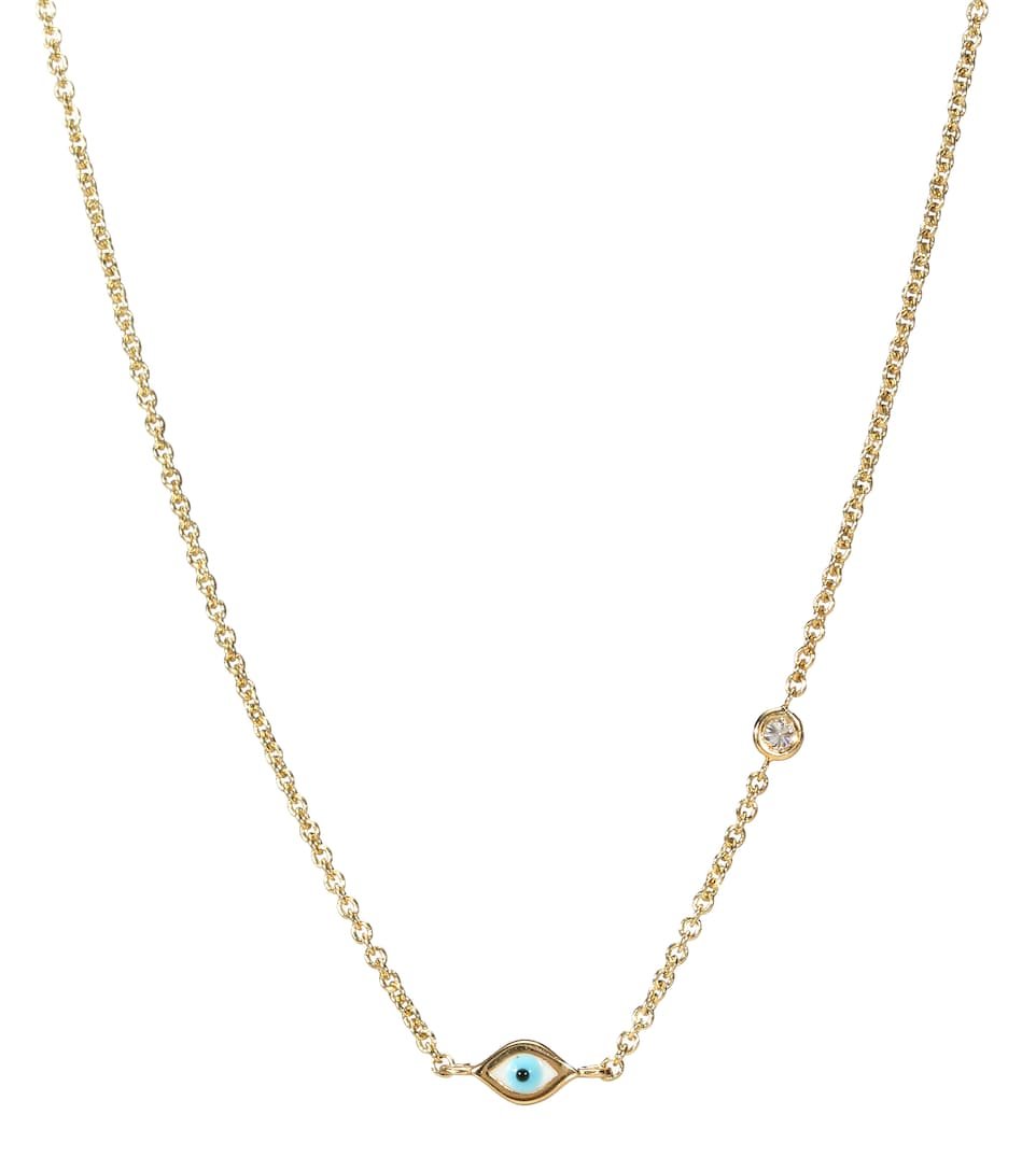 Mini Evil Eye 14kt yellow gold and white diamond necklace Sydney Evan iXzypoV