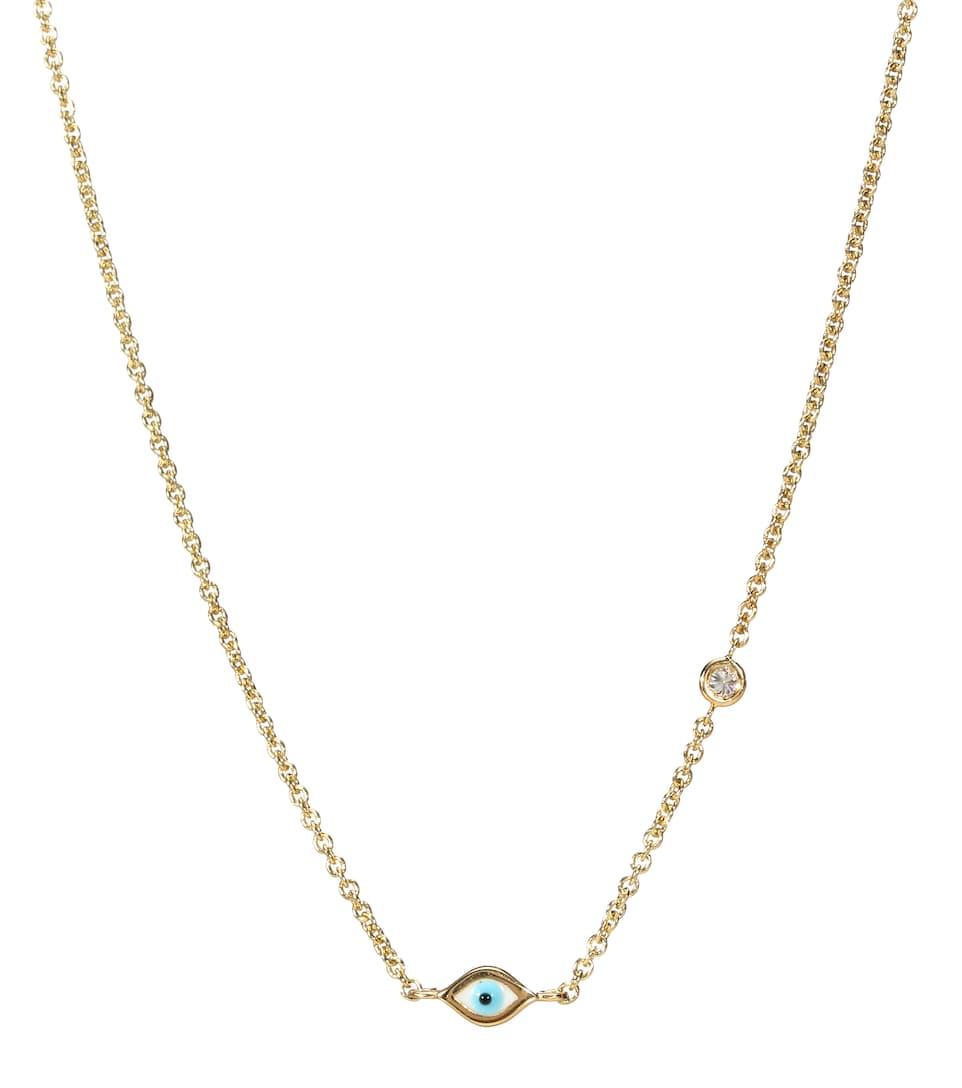 Sydney Evan Halskette Mini Evil Eye aus 14kt Gelbgold mit weißen Diamanten