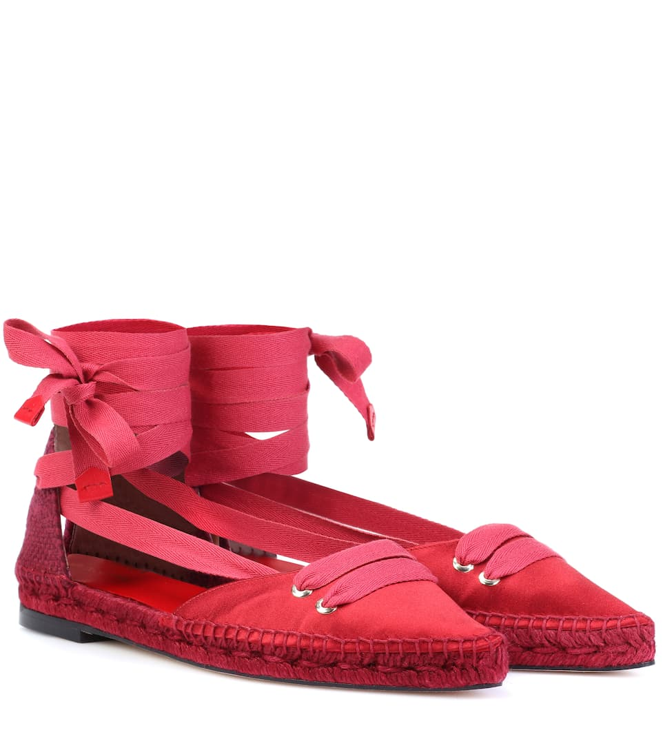 CASTAÑER BY MANOLO BLAHNIK Castaner Medium Flat Satin Beribboned Espadrillas in Red