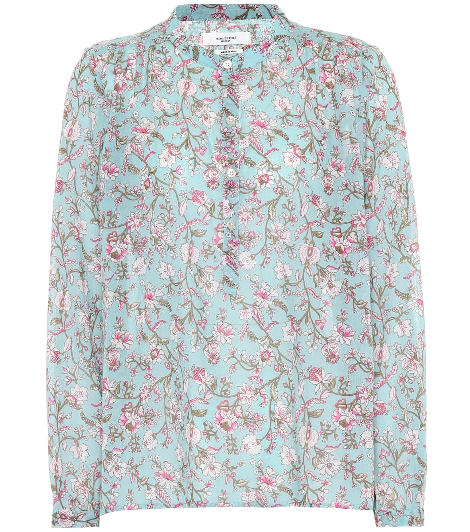 Isabel Marant, Étoile Maria floral-printed cotton top Water Green