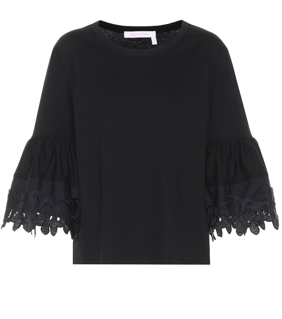 Lace Trimmed Cotton Top by See By Chloé