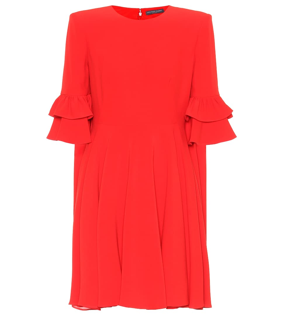 Ruffle-Trimmed Crepe Mini Dress in Red
