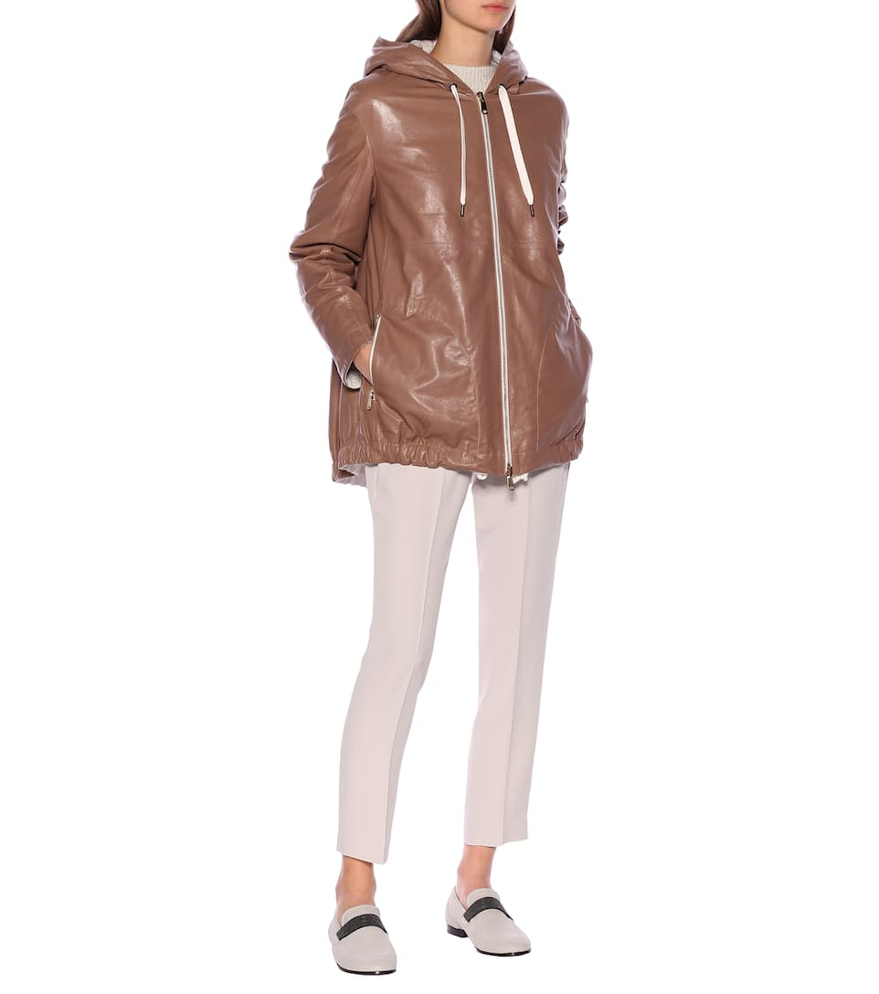 Brunello Cucinelli - Reversible leather and cotton jacket