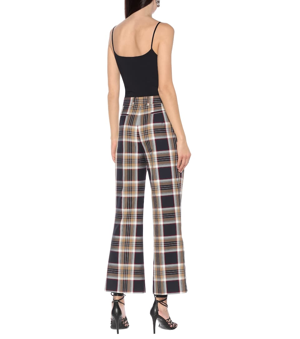 Rokh - Checked high-rise flared pants