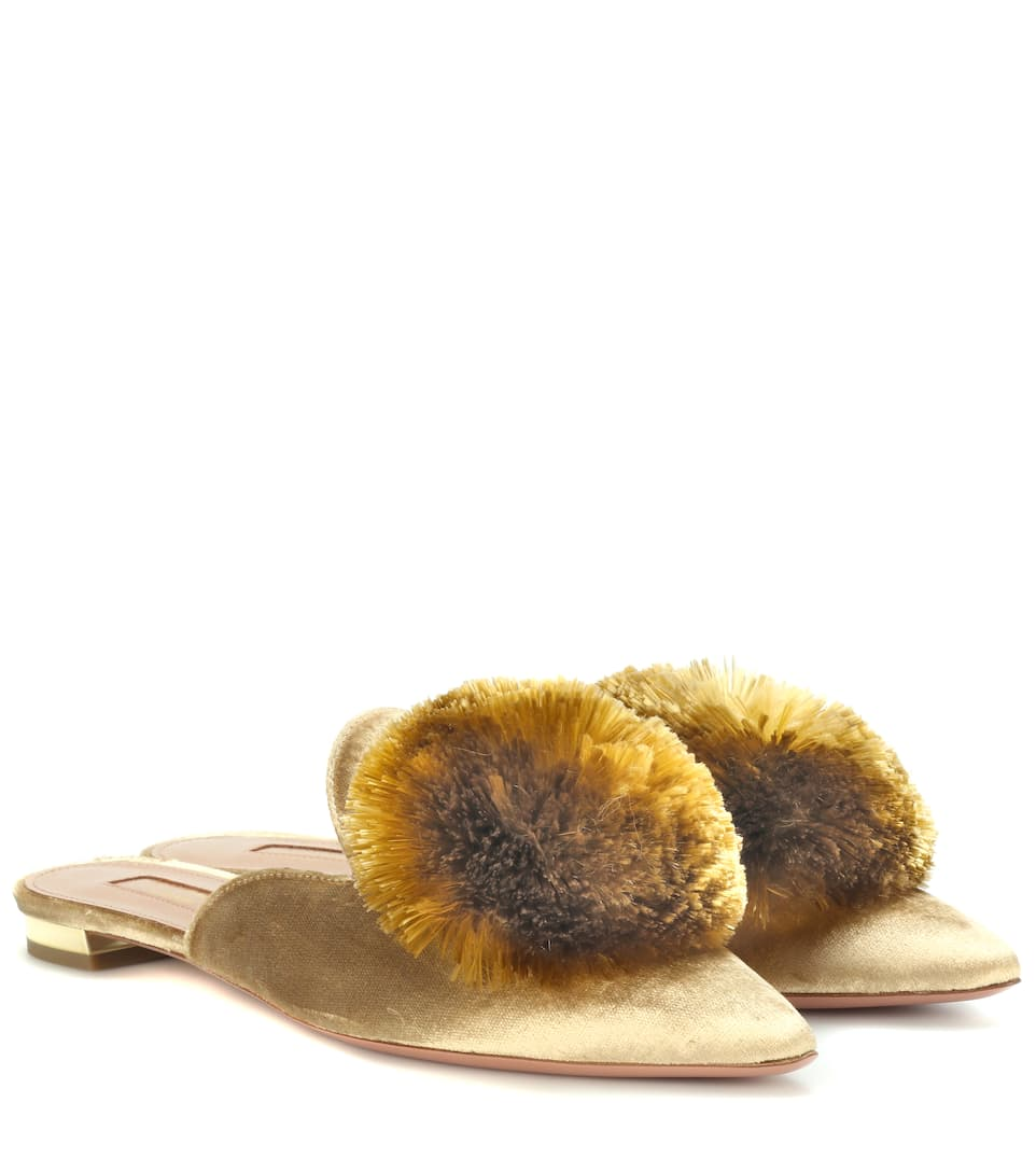 Exclusive To Mytheresa.Com - Powder Puff Velvet Slippers, Gold