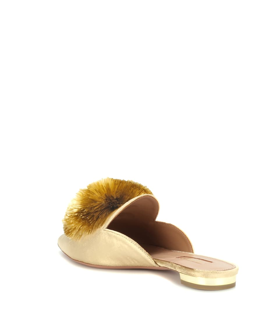 cheap discounts brand new unisex for sale Aquazzura Exclusive to mytheresa.com – Powder Puff velvet slippers low shipping cheap online fake online 9GF4mr