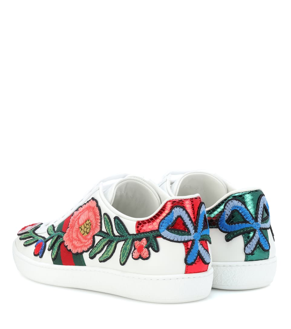 Sneakers Ace In Pelle Con Ricamo - Gucci  592aca153c70