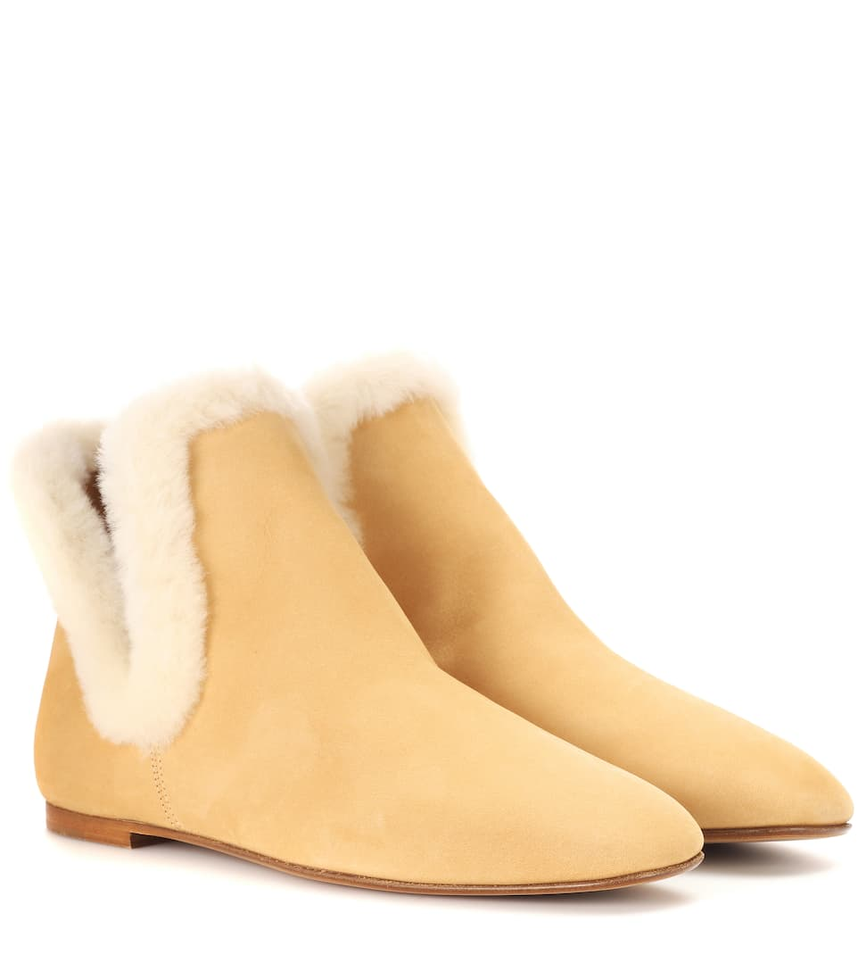 The Row Ankle Boots Eros aus Nubukleder mit Lammfellbesatz