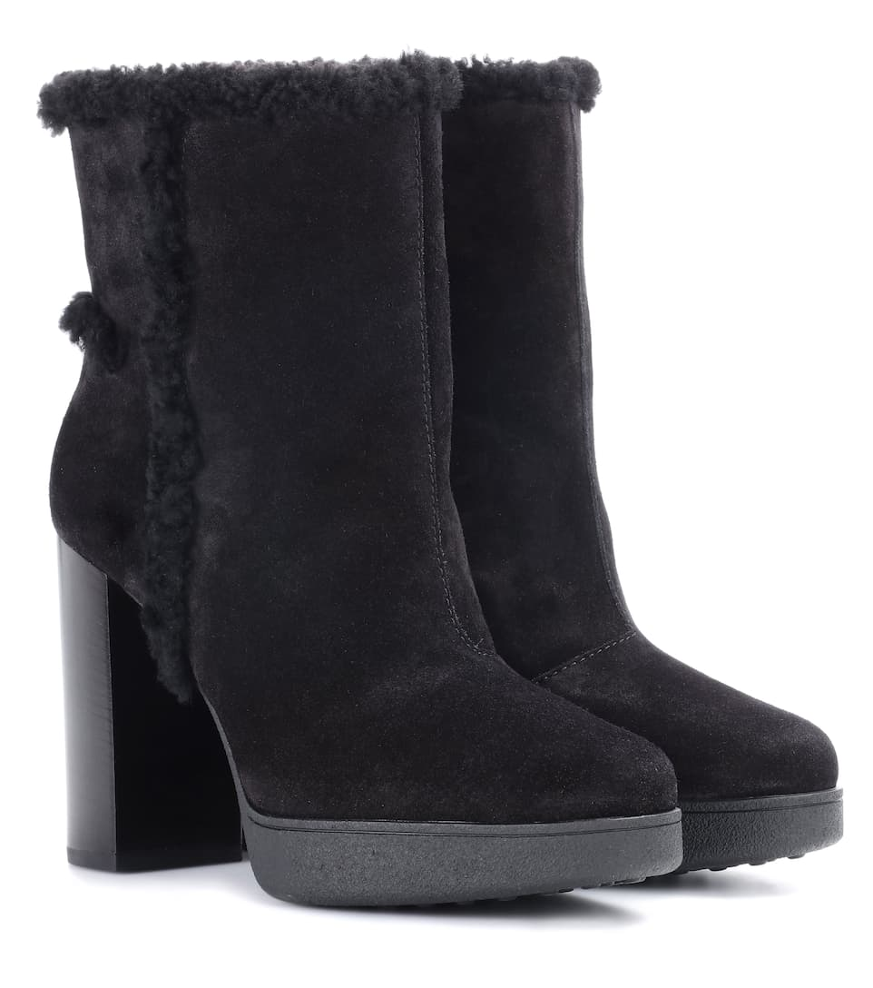 53a26b49ba387 Shearling-Lined Suede Ankle Boots - Tod's | mytheresa.com