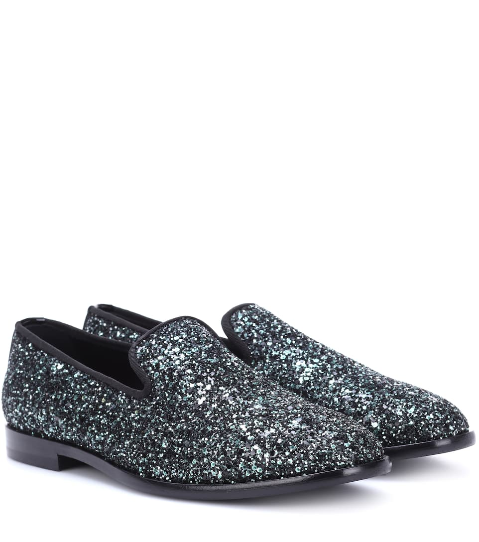Marlo Glitter Loafers, Dusk Blue Mix