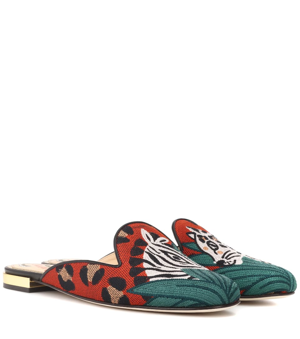 Charlotte Olympia Bestickte Slippers Animal Kingdom aus Canvas