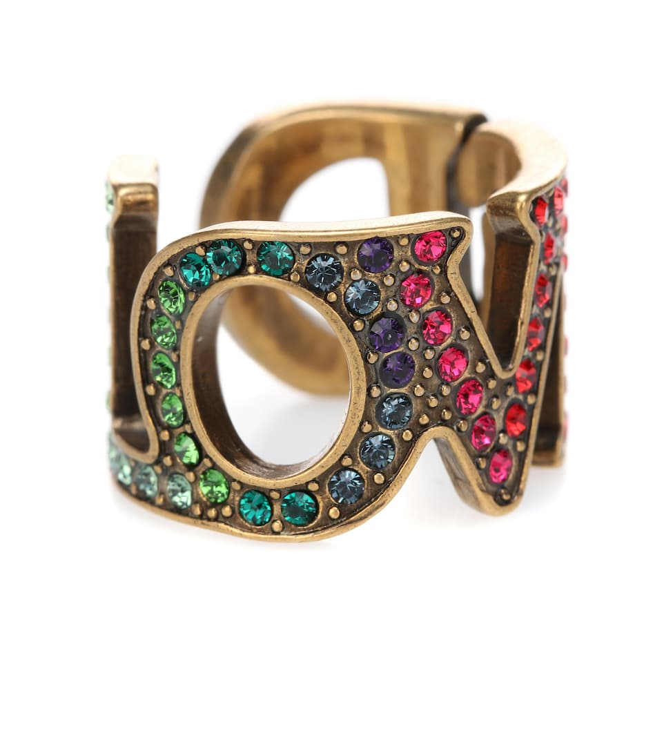 Love Crystal Embellished Ring by Gucci