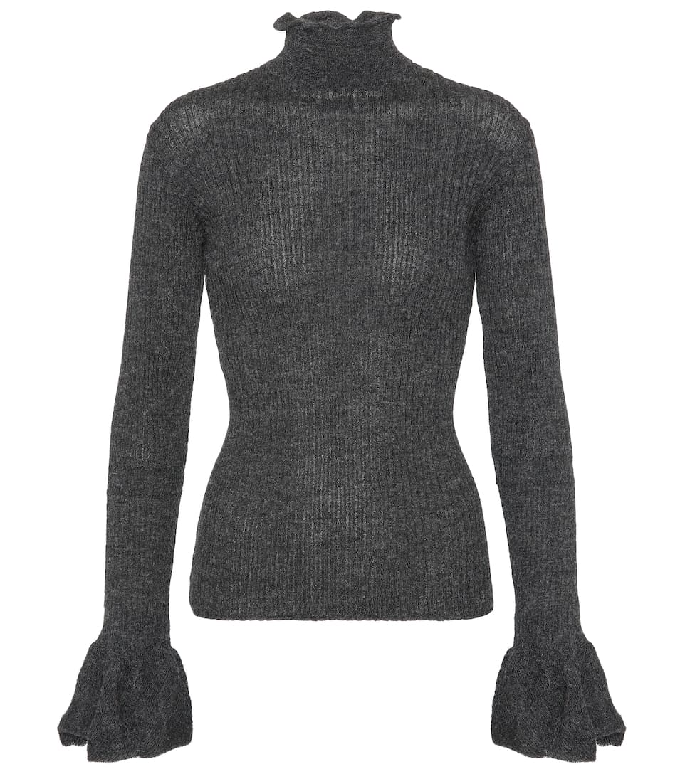 Raine Cut-Out Ribbed-Knit Alpaca-Blend Sweater in Grey