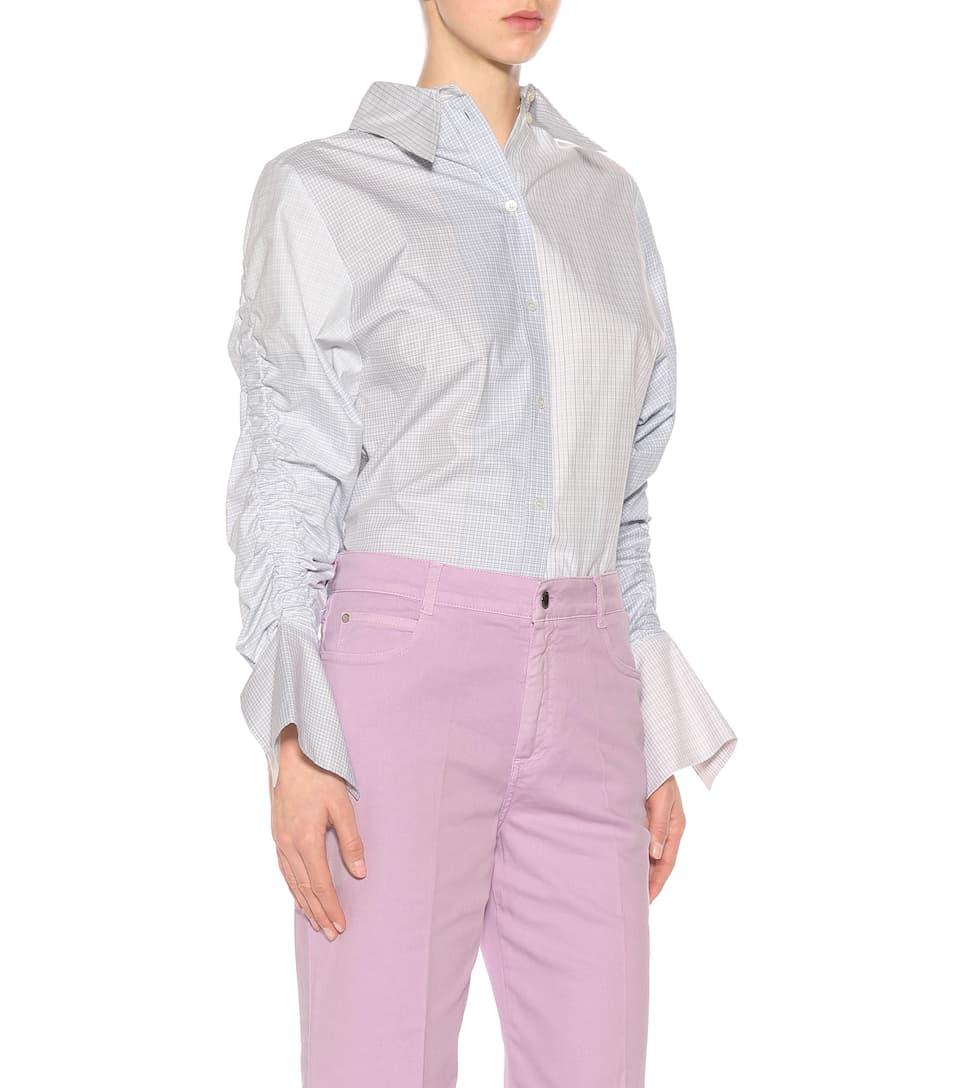 Stella McCartney Verkürzte Bundfaltenhose mit Schlag aus Baumwolle Fälschung Bester Ort Steckdose Online XDMUdNN