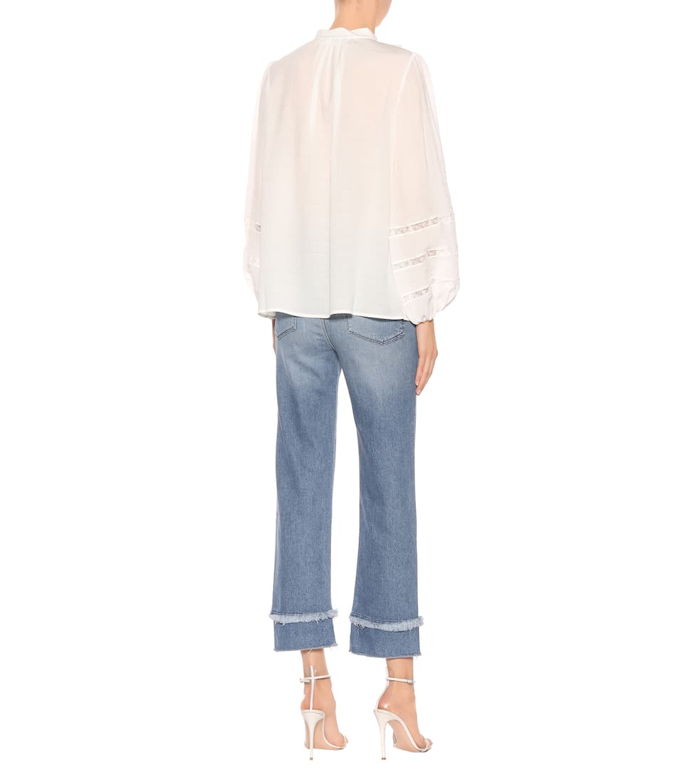 Carpenter Frilly Blouse In Silk