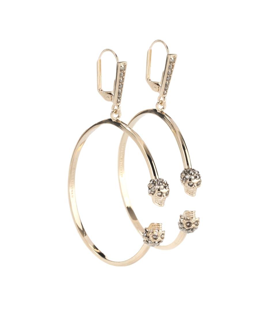 Double Skull Hoop Earrings in Metallic