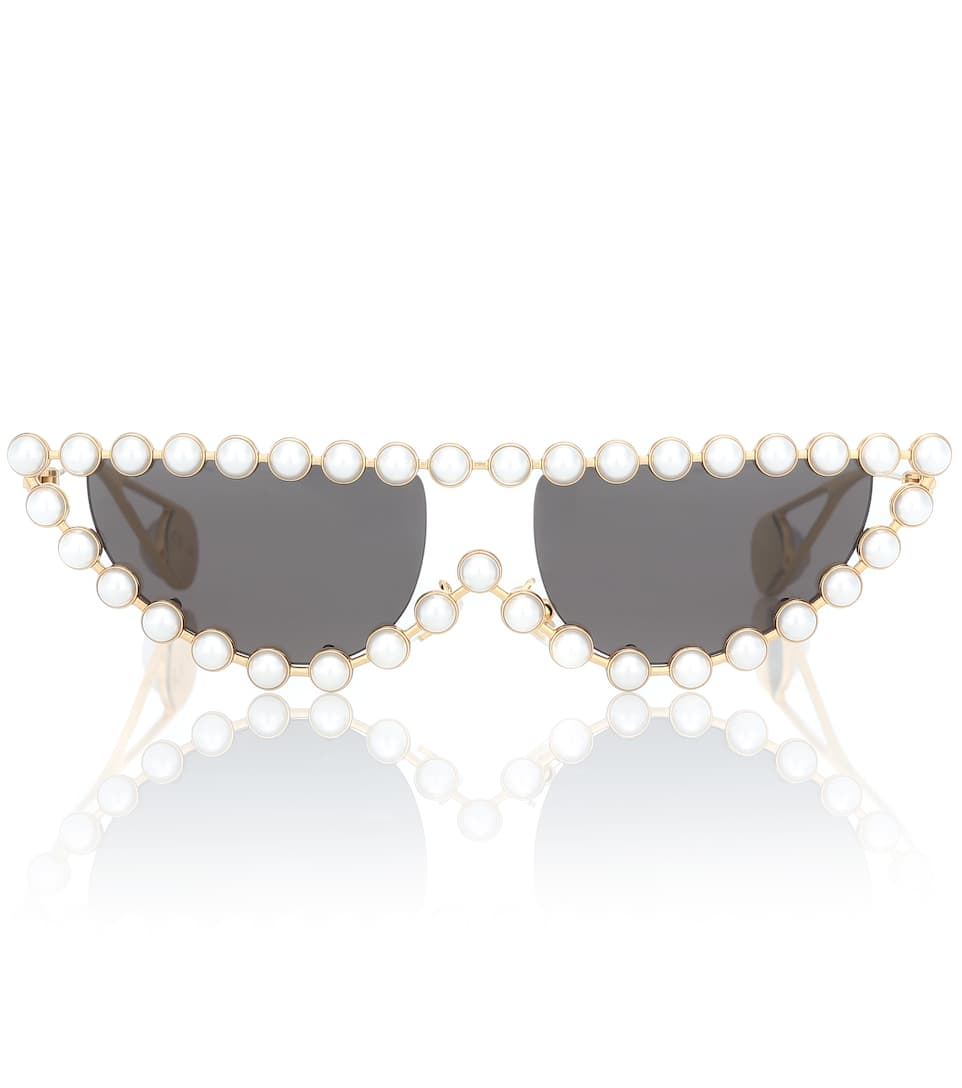 db0ab4887f Cat Eye Sunglasses With Faux Pearls - Gucci