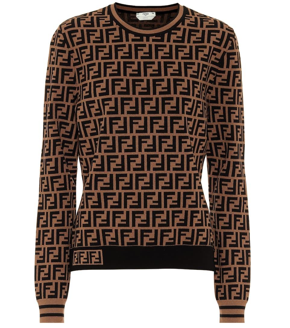 Fendi Brown Ff Wool Cardigan Childrensalon Outlet